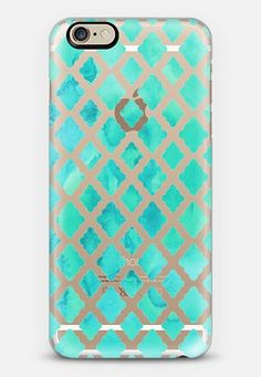 Mint Green Watercolor Diamond Pattern - transparent iPhone 6 case by Micklyn Le Feuvre | Casetify