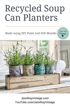Step-by-step video tutorial on how to create recycled soup can planters with IOD Moulds by Jami Ray Vintage. Imagine how gorgeous these would look on your kitchen counter! Great idea for an easy DIY project. Recycled Planters, Recycled Garden Art, Recycled Tin Cans, Diy Planters, Recycling, Recycle Cans, Repurpose, Easy Diy Projects, Garden Projects