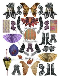 PaperWhimsy Collage Sheet Gothic Chic Fashionable by paperwhimsy