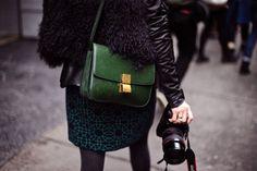 purse + skirt + camera