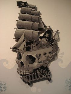 Jeremy Fish oh no they're coming! Crane, Skull Reference, Boat Art, Black Sails, Skull Design, Illustration Sketches, Skull And Bones, Surreal Art, Skull Art