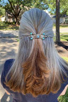 plain minimalist hair clip tree blue Hair clip bronze life tree turquoise red