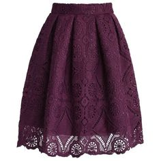 Purple Dream Full Lace Skirt ❤ liked on Polyvore featuring skirts, knee length lace skirt, purple skirt, box pleat skirt, lacy skirt and crochet skirt