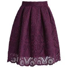 Purple Dream Full Lace Skirt via Polyvore featuring skirts, macrame skirt, zip back skirt, back zipper skirt, box-pleat skirts и purple skirt