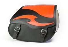 Orange Inlay Motorcycle Leather Saddlebags