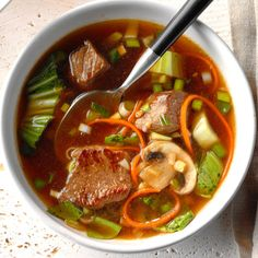 Asian Vegetable-Beef Soup Chinese Soup Recipes, Beef Soup Recipes, Vegetable Soup Recipes, Asian Recipes, Dinner Recipes, Dinner Ideas, Chilli Recipes, Asian Foods, Appetizer Recipes