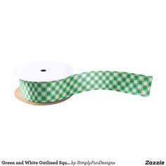 Green and White Outlined Squares Satin Ribbon