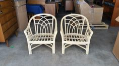 Pair Vintage 1960's Bamboo Lounge Chairs Mid Century Modern Low Profile Rattan Armchairs Excellent Original Condition MCM