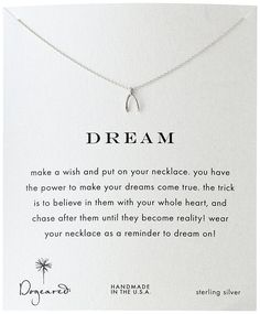 Dogeared Reminder Dream Sterling Silver Wishbone Pendant Necklace >>> Check out this valentines gift ideas.
