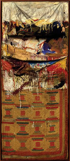 Fig. 8: Robert Rauschenberg, Bed, 1955. Combine painting: oil and pencil on pillow, quilt and sheet on wood supports. 75-1/4 x 31-1/2 x 8 in. (191 x 80 x 20.3 cm). Collection of The Museum of Modern Art, Gift of Leo Castelli in honor of Alfred H. Barr, Jr. This work is in the exhibition catalogue but not the exhibit.