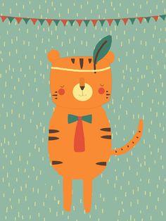 Tijger print - Pimpelpluis - https://www.facebook.com/pages/Pimpelpluis/188675421305550?ref=hl - (nursery print illustration kids children art poster dieren kinderen cute illustratie pluim hoed animal tijger tiger vlaggetjes)