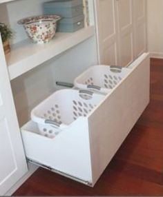 pull out drawer for double laundry baskets