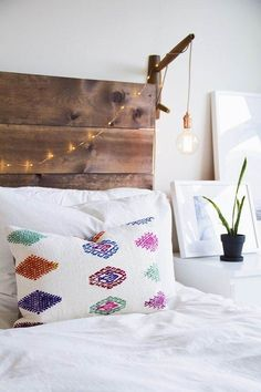 String Lights on Headboard