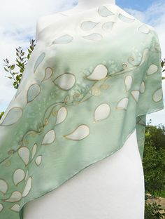 Almond green gray silk scarf , white and soft green, elegant, classy ,hand painted gold details. Flower Petals Fall , Wedding sage green scarf , luxurious . I painted this lovely piece on pongé 9 silk ( shiny silk ) with a lot of care with non toxic steam set French dyes . These are my