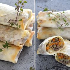 Spring rolls with vegetables and meat