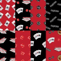 Casino Theme Paper . PRINTABLE . Black + Red 2 . Set of 8 ~ $3.00 ~ This is a great way to decorate your scrapbooks or party favors!! Casino Party, Casino Theme party, casino ideas, casino scrapbook, digital casino, casino paper, las vegas ideas, las vegas party ~ https://www.etsy.com/listing/196467039 ~ #casinoideas #casinoparty #casinopaper #casinoscrapbook