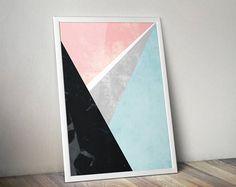 Geometric Art | Triangles | Retro Landscape | Abstract Wall Art | Geometric Home Decor | Wall Hanging | Scandinavian Art | Nordic Art
