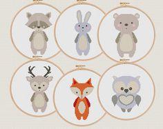 Forêt animaux point de croix Modèles pdf ensemble de 6 renard ours cerf-volant coquillage hibou