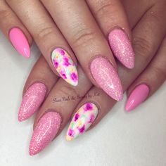 Prohesion sculpted acrylics with magpie glitter Lilly and sharpie marble nail art