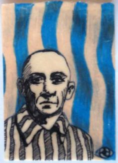 Holocaust 3, 2011, by  Robin Jamison Hernandez Sharpie, colored pencil, beeswax ATC created for invitational swap