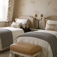 Bedroom - twins - gray & camel