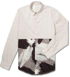 Black L/S Brush Stroke Print Shirt