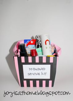 LOVE this bridesmaid survival kit. will def do this. ~joyisathome.blogspot.com.