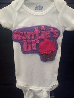 Baby Girl Onesie, Auntie Baby Shower Gift, Unique Baby Present, Auntie's lil' Cupcake - Handmade by FeltSewLovely on etsy.com