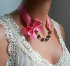 Pearl necklace brown and pink ribbon pearl necklace by casamoda