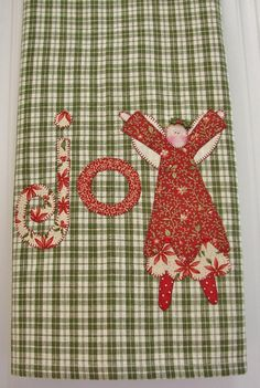 Joyful Angel  No1 Homespun Tea Towel  by TwoGirlsLaughing on Etsy, $22.00