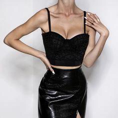 All Beaded Up Bustier Black Mini Skirts, Two Piece Skirt Set, Sexy, Black, Dresses, Fashion, Vestidos, Moda, Black People