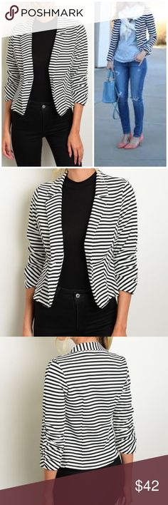 """☀️3 DAY SALE☀️Striped Black and White Blazer 3/4 sleeve striped black and white blazer. Style it with your favorite jeans or pants!  Measurements for small: L: 23"""" B: 36"""" W: 32"""" Made of Poly/spandex blend. NO TRADES Bchic Jackets & Coats Blazers"""