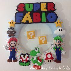 Guirlanda Porta de Maternidade tema Super Mario para o Fábio