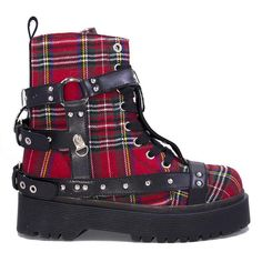 69a01366ac6 Disorder Bondage Boot by Strange Cvlt - in Red Plaid