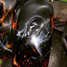 Harley Davidson Trike Fender. Grim Reaper Airbrushed by Mike Lavallee of Killer Paint - www.killerpaint.com