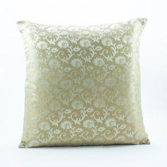 Decorative throw pillow cover 18x18, Gold Pillow, Silk Pillow made of brocade fabric.