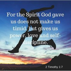 For the Spirit God gave us does not make us timid but gives us power love and self-discipline. (2 Tim 1:7) #LaPinkCourier #KimTHolmberg