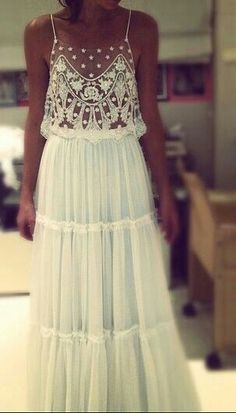 Bohemian dress -- I love the delicate lace, and would add a camisole underneath the bodice.