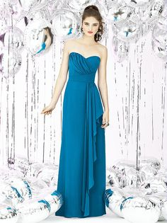 full length strapless nu-georgette dress w/ draped detail at bodice and cascading ruffle at front skirt. color: cerulean, ocean blue and oasis