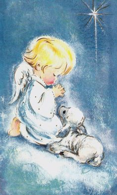 vintage baby cards | Vintage Christmas Card Angel and Baby Lamb by PaperPrizes on Etsy