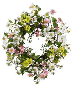 """20"""" Dogwood Wreath -Hayneedle -$97.99-Mixed white, pink & yellow Dogwood florals with greenery- mounted to a wicker base- Perfect for kitchens, sunrooms or as a gift"""