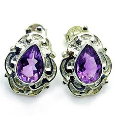 """The Silver Plaza Sterling Silver """"Shy Violets"""" Amethyst Stud Earrings"""