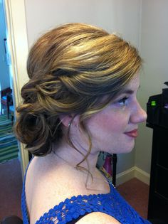romantic updo and makeup by Kimberly Valosen