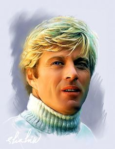 """Actors and Actresses -- as Art: """"Robert Redford"""" -- by Shahin Gholizadeh, Iranian; Celebrity Caricatures, Celebrity Drawings, Celebrity Portraits, Portrait Au Crayon, Pencil Portrait, Portrait Art, Paul Newman Robert Redford, Actrices Hollywood, Cultura Pop"""