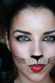 Cute, no-scary Halloween makeup. One of my fave and cutest costumes was makeup like this, with cat-ears headband, black mock turtleneck, leggings and ballet flats #facepaintingideasforadults