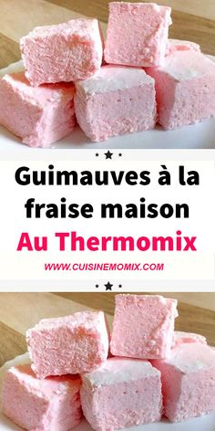 Recipe Homemade strawberry marshmallows with Thermomix - Homemade Baby Foods Homemade Art, Homemade Baby Foods, Dessert Thermomix, Meringue Pavlova, Strawberry Syrup, Baby Food Recipes, Biscuits, Good Food, Easy Meals