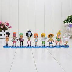 9Pcs/set One Piece Action Figures Monkey D Luffy Roronoa Zoro Nami Usopp Sanji Tony Chopper Nico Franky Brook OP Full Toys