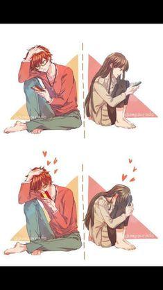 mystic messenger, luciel choi, saeyoung choi x MC Manga Couple, Anime Love Couple, Anime Couples Manga, Cute Anime Couples, Couple Art, Anime Couples Cuddling, Anime Couples Hugging, Manga Anime, Couple Cuddling