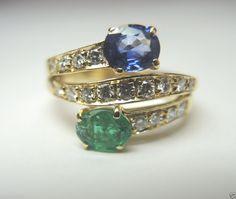 Antique Colombian Emerald Sapphire Diamond Engagement Ring 18KY SZ-5.75 Art Deco #Engagement