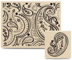 Paisley Stamp Set  2 Rubber Stamps by SimplyRosySupplies on Etsy, $12.50